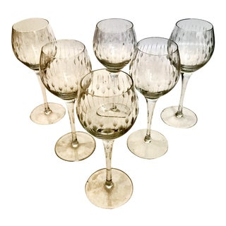 1920s Antique Art Deco Crystal Hock Glasses - Set of 6