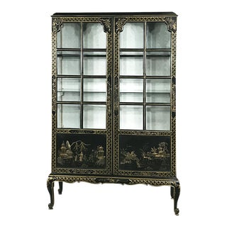 19th Century English Ebonized & Painted Chinese Style Curio Cabinet ~ Bookcase For Sale