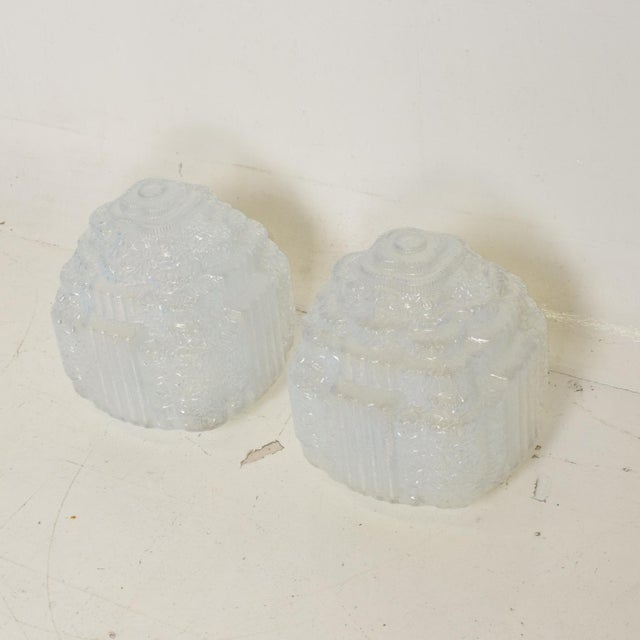 Glass Rare Art Deco Light Blue Glass Shades , Set of Two For Sale - Image 7 of 11
