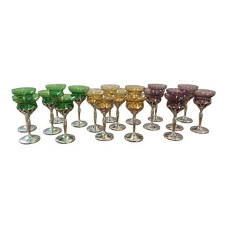 1950s Chrome and Glass Cocktail Glasses - Set of 18 For Sale