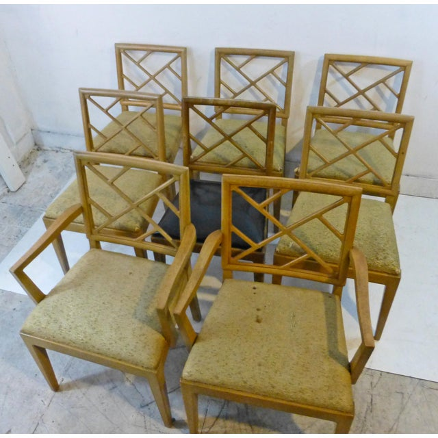 Yellow 1940s Landstrom Mid-Century Modern Lattice Back Dining Chairs - Set of 8 For Sale - Image 8 of 8