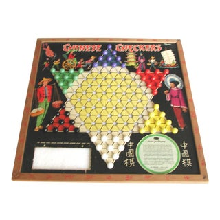 Vintage Wooden Chinese Checkers Game With Marbles For Sale