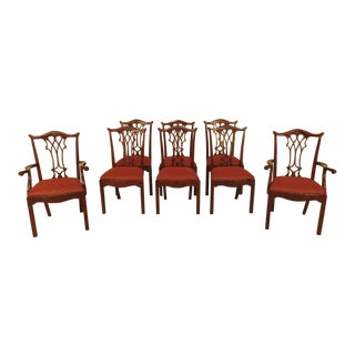 Maitland-Smith Chippendale Style Mahogany Dining Chairs - Set of 8 For Sale