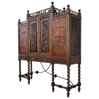 19th Century Wood Carved Cupboard, Cabinet on Stand With Iron Stretcher For Sale