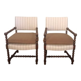 Vintage English Barley Twist Chairs- A Pair For Sale