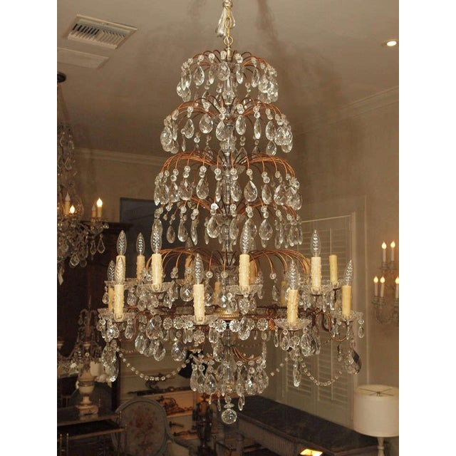 19th Century Italian 18 Lite Crystal Tiered Chandelier For Sale - Image 5 of 10