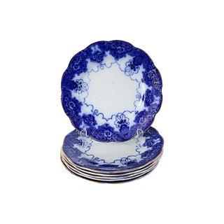Antique Flow Blue Art Nouveau Plates - Set of 6 For Sale