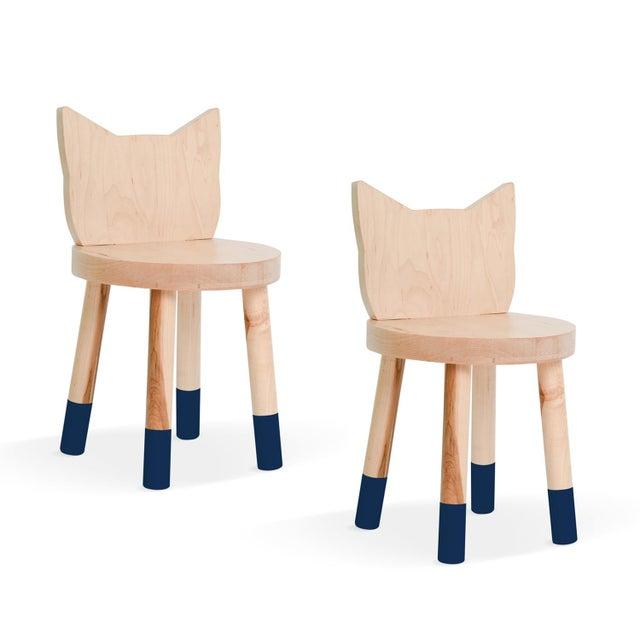 Nico & Yeye Nico & Yeye Kitty Kids Chair Solid Maple and Maple Veneers Deep Blue - Set of 2 For Sale - Image 4 of 4