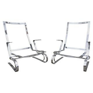 Flat Bar Steel Chrome Lounge Chairs Manner of Poul Kjaerholm - a Pair For Sale