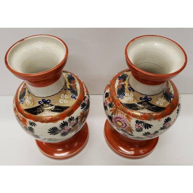 1930s Circa 1930 Japanese Kutani Porcelain Bird/Floral Motifs Footed Baluster Vases - a Pair For Sale - Image 5 of 7