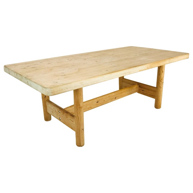 Substantial Solid Scandinavian Pine Butcher Block Dining Table For Sale - Image 13 of 13