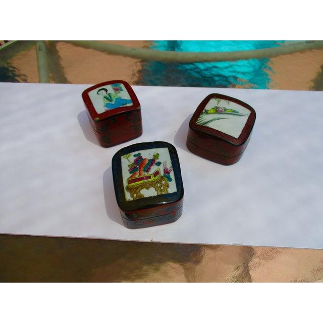 Porcelain Lacquer Glam Trinket Boxes - Set of 3 - Image 2 of 11