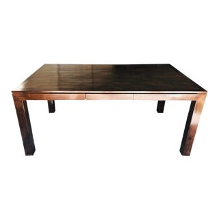 Elm and Split Bamboo Table With Floating Top - 72″ For Sale