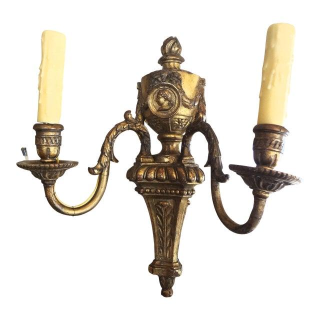 Louis XVI Style Pair of Gilt Wood Sconces For Sale