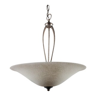 Textured-Glass Ceiling Pendant Lamp For Sale