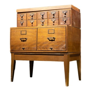 1950s Mid Century Standing Card Catalogue and File Cabinet For Sale