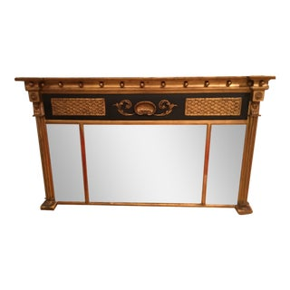 Antique Empire Style Horizontal Over Mantel Mirror