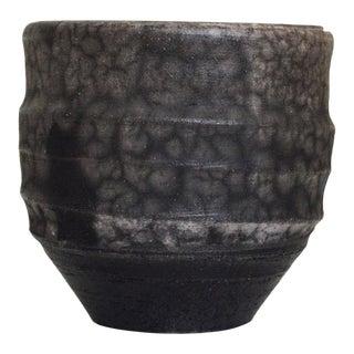 Vintage Handcrafted Dark Gray Marbled Raku Mug   Handmade Ceramic Vessel by George Roby   Mid Century Modern Pottery For Sale