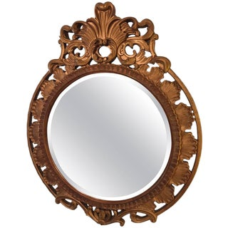 Italian Palatial Gilt Decorated Carved Circular Wall or Console Mirror For Sale