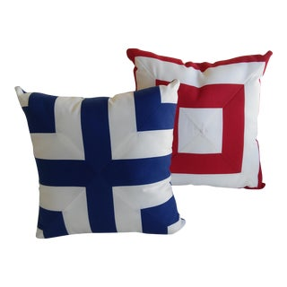Nautical/ Outdoor Accent Pillows - a Pair For Sale