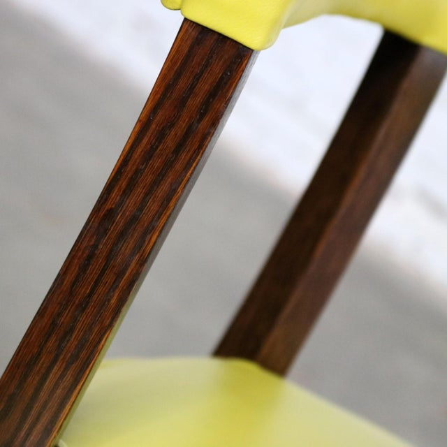 Mid Century Modern Yellow Vinyl and Oak Barrel Back Side Chair For Sale - Image 11 of 13