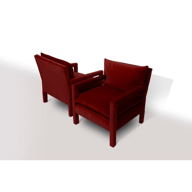 Milo Baughman Parsons Lounge/Armchairs in Ruby Mohair - A Pair For Sale - Image 4 of 7