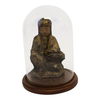Ancient Asian Buddha Wood Sculpture & Glass Dome For Sale