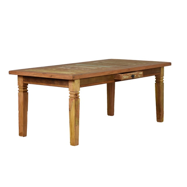 Boho Chic Reclaimed Wood Dining Set For Sale - Image 3 of 8