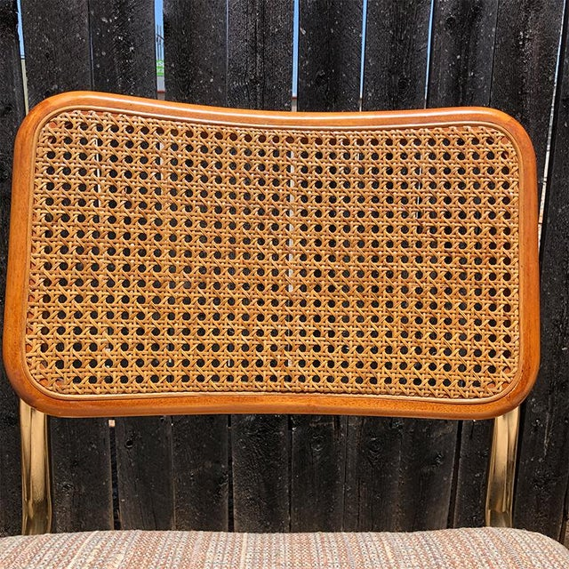 1980s Vintage Cantilever Cane Marcel Breuer Style Tubular Dining Chairs Upholstered Seats Set of 6 For Sale - Image 12 of 13