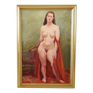 Midcentury Oil Painting of Female Nude Draped in Red Fabric with Gold Frame For Sale