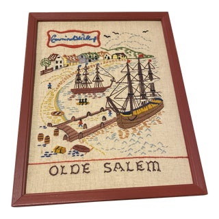 Vintage Olde Salem Needlepoint of Historic Town Crewel Crowningshield Wharf Ship For Sale