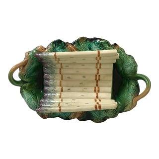 Antique Majolica Barbotine Asparagus Serving Basket Vine Leaves For Sale