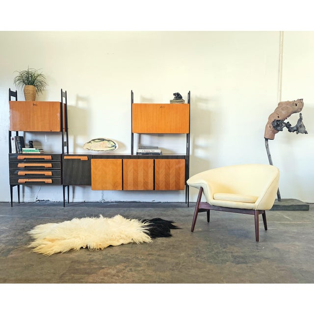 Wood Large Italian Modern Wall Unit, Italy, 1950's For Sale - Image 7 of 11