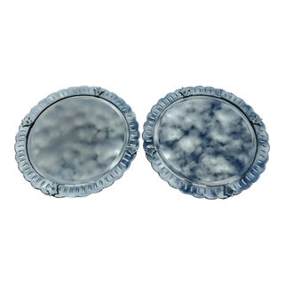 PAIR Round Mid-Century MODERN Style Venetian Etched & Beveled Glass MIRRORS with Mirror Frame