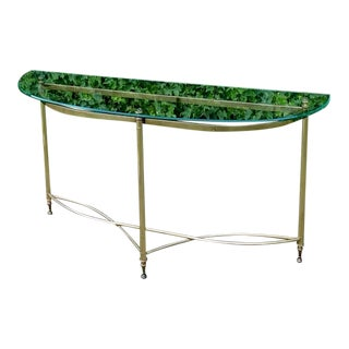 1970s Half Moon Glass and Brass Console Table For Sale