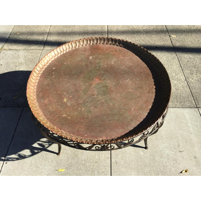 Mid-Century Modern Round Brass Tray Table with Wrought Iron Stand For Sale - Image 4 of 6