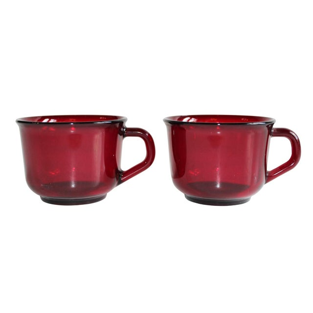 Red Arcoroc Mugs - Set of 4 For Sale - Image 4 of 4