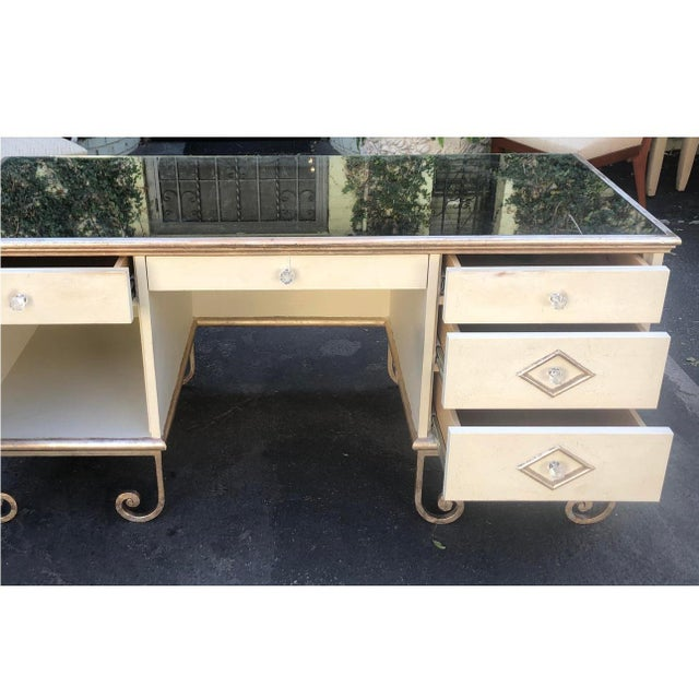 Vintage Art Deco Mirror Top Vanity Dressing Table Writing Desk For Sale - Image 4 of 7