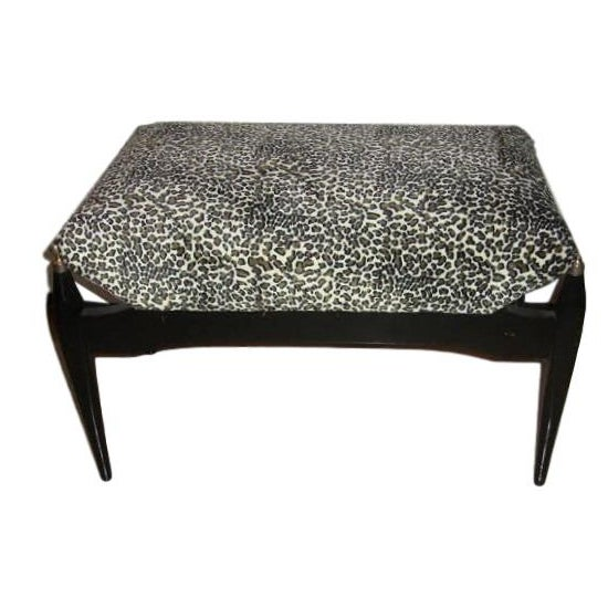 Leopard Print Upholstered Bench - Image 1 of 6