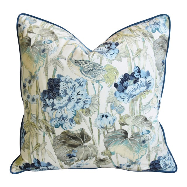"""Chinoiserie Crane & Floral Feather/Down Pillow 24"""" Square For Sale"""