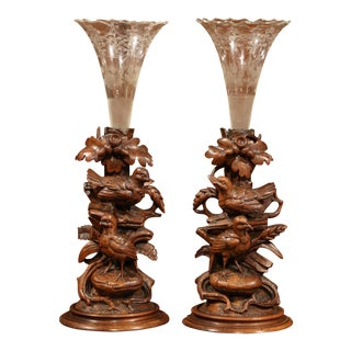 Pair of 19th Century Swiss Carved Walnut Black Forest Vases With Cut Glass