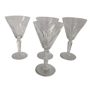 """Vintage Waterford Crystal """"Sheila """"Pattern Set of 4 Wine Glasses For Sale"""