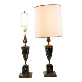 19th C. French Neoclassical Marble and Bronze Table Lamps - a Pair For Sale