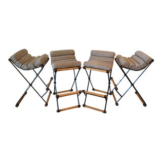 Cleo Baldon Iron & Suede Bar Stools - Set of 4 For Sale