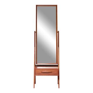 1960's Vintage Danish Modern Teak Cheval Mirror For Sale