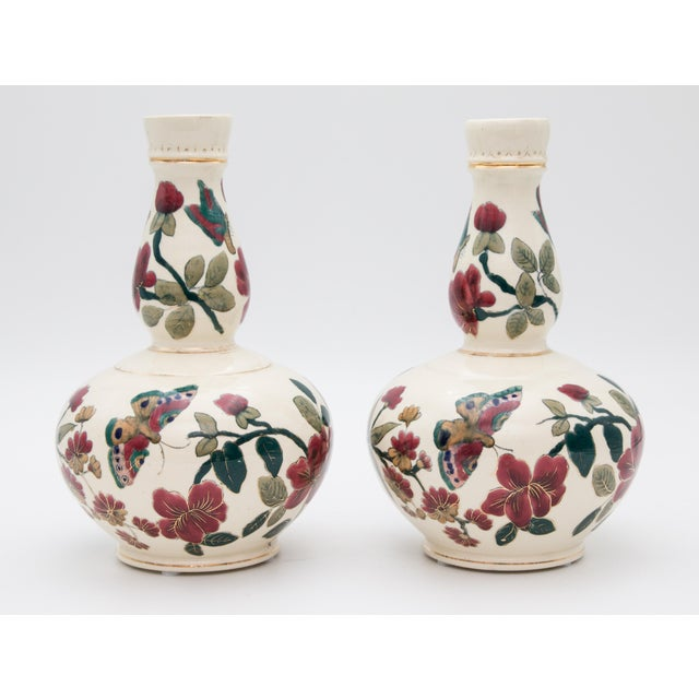 Antique Italian Floral & Butterflies Double Gourd Vases - a Pair For Sale - Image 9 of 9