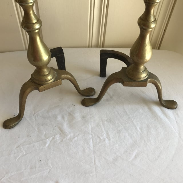 Vintage Brass Fireplace Andirons - A Pair For Sale - Image 5 of 6