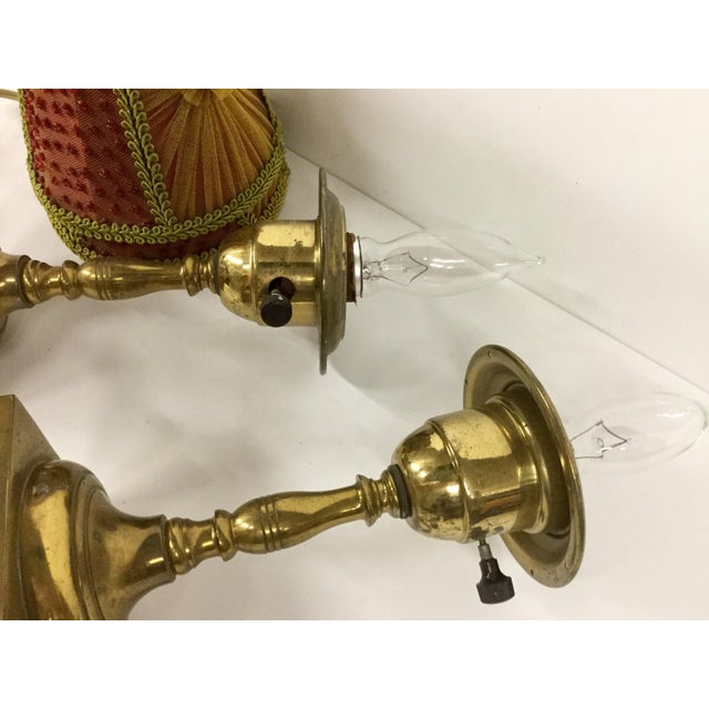 1940s Small Vintage Brass Table Lamps With Shades - a Pair For Sale - Image 12 of 13