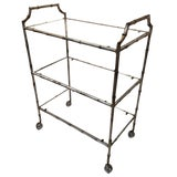 Image of 1960s Hollywood Regency Faux Bamboo Silverleaf Bar Cart For Sale