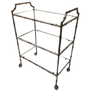 1960s Hollywood Regency Faux Bamboo Silverleaf Bar Cart For Sale